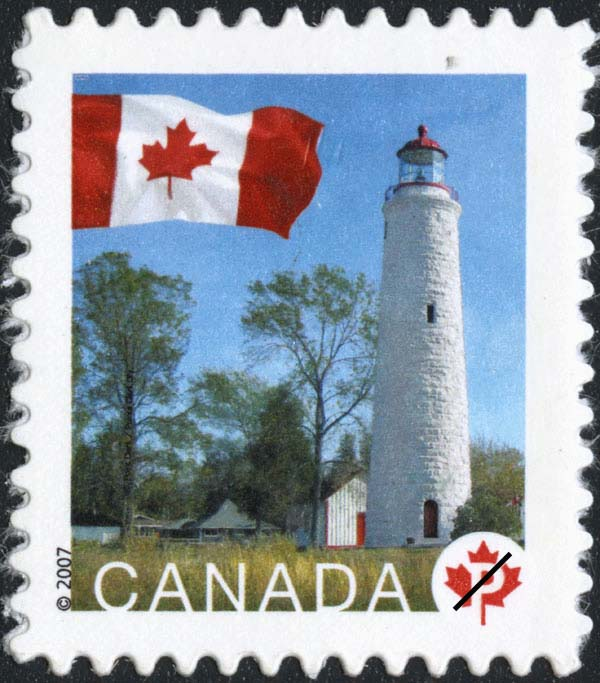 Canadian stamp featuring the Point Clark Lighthouse