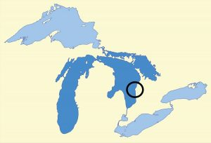 Map of great lakes with Point Clark circled