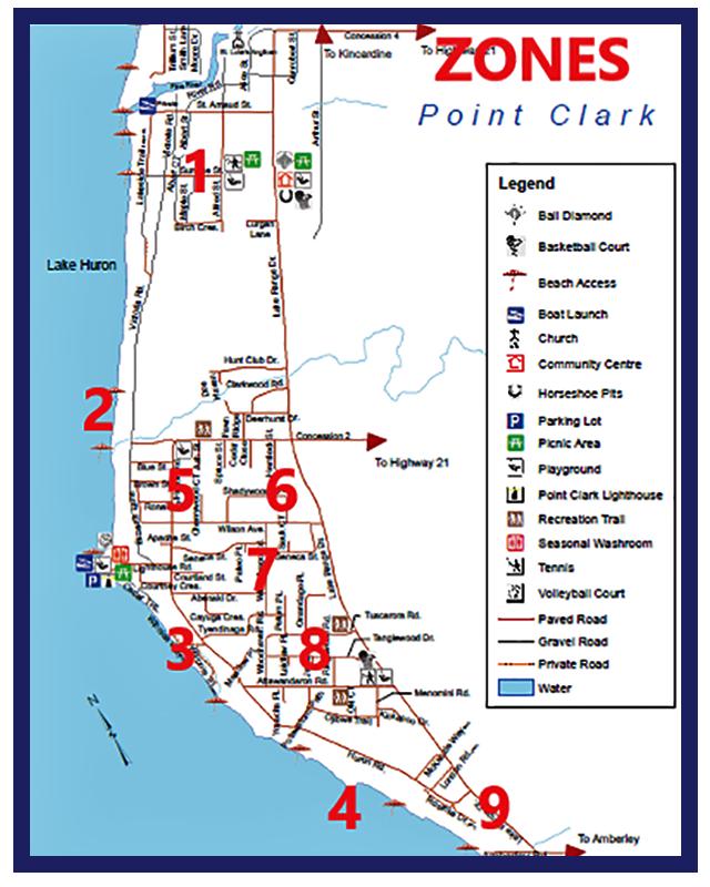 Point Clark map with Winter Patrol Zones identified